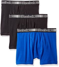d41a79334270 Reebok Men's 3pk Cotton Boxer Brief (Fly), Black/Royal/Black, Small