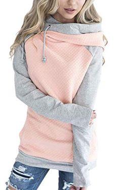 5cda61f7a0 ECOWISH Damen Kontrastfarbe Pulli Pullover Rollkragen Sweatshirt  Kapuzenpulli Top Hoodies Rosa M