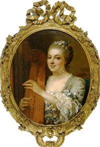 La jeune harpiste, 1761 by Jean François Gilles Colson (1733-1803)