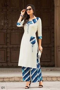 White Indian Ethnic Wear Long Length Handwork Cotton Kurti With Rayon Plazzo