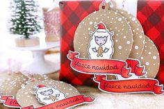 Lawn Fawn - Stitched Circle Tags, Baaah Humbug, Bannerific, Snowy Backdrops, Holiday Party Animal, Red Sparkle Lawn Trimmings _ 25 days of Christmas tags by Elena at Just Me