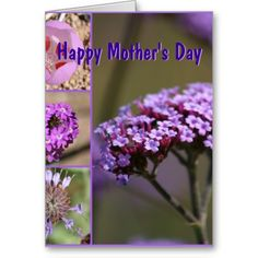 *personalize* Mother's Day Purple Flowers Collage Greeting Cards