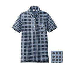 UNIQLO x Michael Bastian MEN MB Washed Short Sleeve Polo Shirt - Sky Blue Print