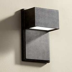 Upgrade your outdoor lighting system with this modern energy-efficient LED wall light. Extends 4 from the wall. Distance from mounting point to the top of the fixture is 4 Style # at Lamps Plus. Contemporary Outdoor Wall Lights, Black Outdoor Wall Lights, Outdoor Hanging Lights, Led Outdoor Wall Lights, Outdoor Walls, Outdoor Lighting, Lighting Ideas, Modern Lighting, Outdoor Wall Light Fixtures