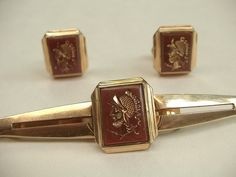 vintage cuff links tie bar set, roman soldier, Anson 12k gold filled, 1940's 1950's 1960's, gift for groom. $22.00, via Etsy.
