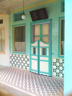 Old Peranakan tiles, Emerald Hill, Singapore