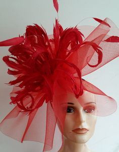 Large Red Fascinator - The Hat Lady