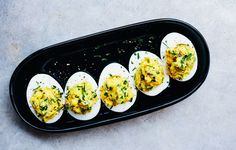 The filling for these eggs is coarsely mashed and studded with crunchy celery…