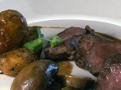 New York Strip Steak with Sauce Robert over Baby Potatoes