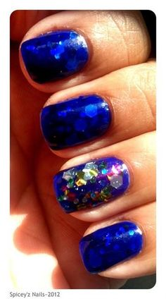 Blue Jelly/Glitter Nails