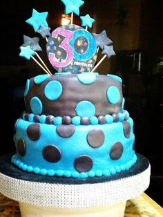 Black and blue polka birthday cake