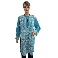 Womens Top True Blue Designer Embroidered Georgette Sheer Kurti Tunic Dress Large (Apparel) http://www.amazon.com/dp/B007IZX1PG/?tag=httpzachlagco-20 B007IZX1PG