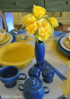 Sunflower and Sapphire Fiesta® Dinnerware tabletop | The Little Round Table