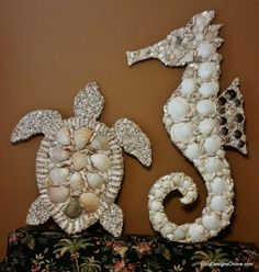 Stained Glass and Seashell Mosaic Sea Creatures - Octopus, Seahorse and Sea Turtles #shell mosaic