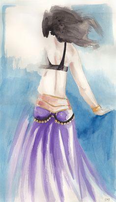 Dancer in Purple,  Watercolour on paper