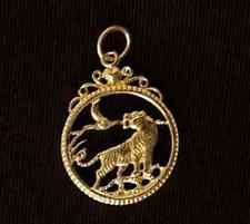 LOOK Celtic Tiger Pendant Charm Silver Gothic Gold Plated
