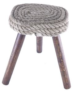 Touwkruk, kruk bekleed met gerecycled scheepstouw. Touw-vlas-jute-scheepstouw-botentouw-geslagen touw-kruk-melkkruk-hout