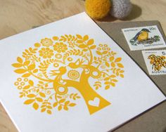 Valentine's Mothers day Spring, Letterpress Summer Sunshine Card Scandinavian Folk Style yellow mustard Tree of Life made in Australia on Etsy, $6.07