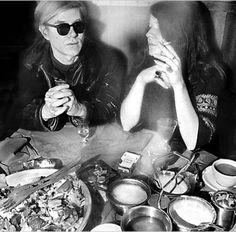 Janis Joplin with Andy Warhol at NYC punk mecca Max's Kansas City, by Elliot Landy.