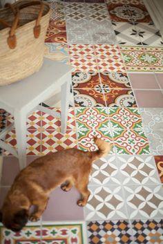 Tile floor boho.  For laundry room or bathroom