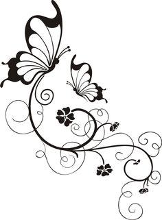 Schmetterling mit Blumenornament Wandtattoo, Wandsticker und Wandaufkleber - deine-wandtattoos.de