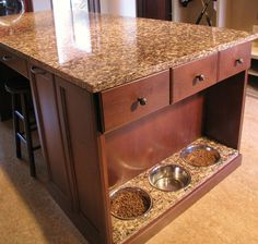 Doggie cafe - dog food feeding station - Traditional - Laundry or kitchen House Design, House, Home Projects, Home, Home Remodeling, New Homes, House Interior, Home Kitchens, Home Diy