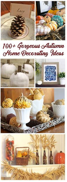 100 of the Best Autumn Decor Ideas from the All Things Creative Team! Thanksgiving Ideas, Thanksgiving Decorations, Holiday Ideas, Table Decorations, Autumn Decorating, Decorating Ideas, Fall Projects, Diy Projects, Fall Crafts