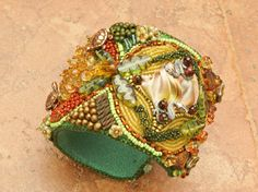 CUFF Rainforest Bead Embroidered Shibori Gemstone Cuff by TealEves