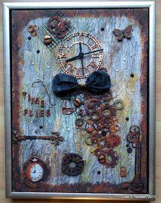 GitteScrap: Canvas med ur.