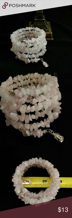Weekend Sale Rose Quartz Bracelet 5 strand Rose Quartz stone chips bracelet on memory wire. Beautiful tones of light pink and white.   Handmade by 1eyed 1der designs (that's me!)   PRICE IS FIRM. Bundle and save! Sorry, no trades. 1eyed 1der designs  Jewelry Bracelets