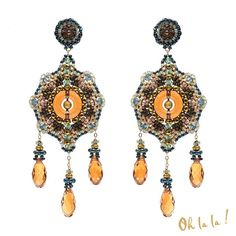 Earrings with Faceted Hematite and Gold Fill, Dangle Drop Swarovski Crystal Beaded by Esther Marker