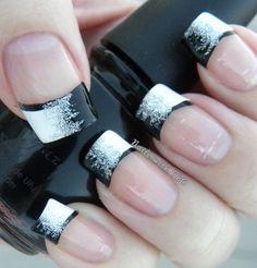 uñas decoradas con esmalte, estilo francesas a contra tono