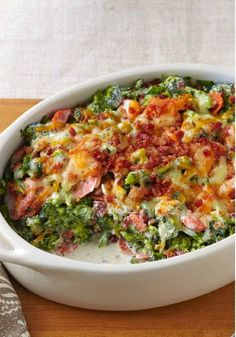 Creamy Broccoli-Bacon Bake – Shredded cheddar, cream cheese and smoky OSCAR MAYER bacon give this tasty broccoli bake its creamy, flavorful appeal. Make room for this delicious side dish on your Thanksgiving dinner menu! Your family and friends will enjoy the original recipe but if you're looking to switch things up a bit, consider cauliflower instead. Either way, this hot cheesy casserole is sure to please the holiday crowd.