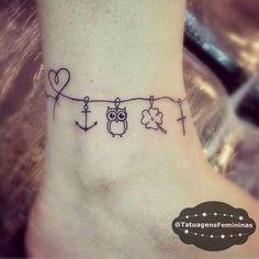 Likes, 420 Comments - Tatuagens Charm Anklet Tattoo, Anklet Tattoos, Knuckle Tattoos, Tattoo Bracelet, Ankle Braclet Tattoo, Wrist Tattoo, Mom Tattoos, Body Art Tattoos, Small Tattoos