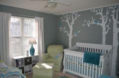 grey aqua green nursery