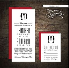 www.etsy.com/shop/joytations PENGUIN Wedding Invitation Suite by Joytations on Etsy