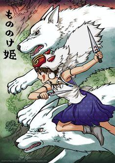 Mononoke Hime Ukiyo-e Risachantag // deviantart: http://risachantag.deviantart.com/ #ghibli #monoke