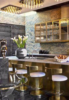 Bronze & marble kitchen bar by Interior Designer Kelly Wearstler in Manhattan loft.