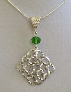 Silver Celtic Knot with Green Crystal Necklace by joytoyou41, $32.00