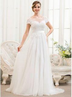 Vestidos princesa/ Formato A Decote redondo Sweep/Brush trem Tule Charmeuse Renda Vestido de noiva com Bordado Lantejoulas