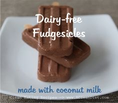 Coconut Milk Fudgesicles, refined sugar-free and dairy-free. Made with real cacaco powder for a punch of antioxidants.