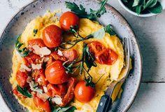 Polenta with roasted tomatoes - WDF Roasting Tins, Gordon Ramsay, Roasted Tomatoes, Fresh Herbs, Food Photo, Vegetable Pizza, A Food, Tasty, Favorite Recipes