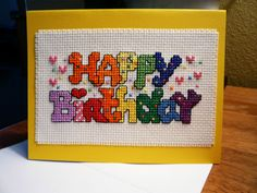 Happy Birthday cross stitch greeting card by TheGardenStitcher, $6.95