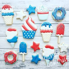 "Banana Bakery on Instagram: ""Mmmm sweets 😋 My favorite food group! #yum #july4th #decoratedcookies #dallasbaker #bananabakery"""