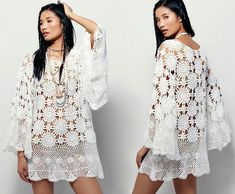 Boho crochet dress PATTERN crochet TUTORIAL in English for this amazing lace dress.