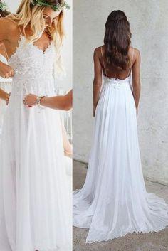 Spaghetti Strap V-neck White Chiffon Lace Appliqued Summer Beach Wedding Dresses,Bridal Dress,N157