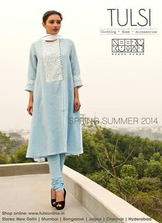 ice blue salwar kameez from tulsi online