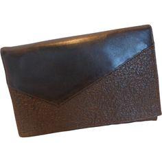 Vintage 1935 Black Pebbled Leather Clutch Handbag