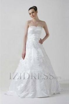 A-line Strapless Lace A-Line Wedding Dresses
