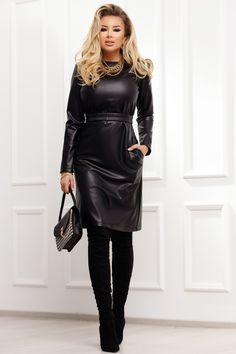 Rochie midi neagra din piele ecologica este o rochie perfecta pentru un outfit sofisticat. Rochia are croi drept, cu centura elastica in talie ce te ajuta sa ai un look sexy. Este o rochie cu croi modern ce iti pune in evidenta trupul si cu ajutorul careia ai un look diferit. Trench, Leather Skirt, Leggings, Lady, Skirts, Outfit, Casual, Fashion, Winter Fashion Women